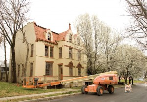Chateau demolition. Pictured above is The Chateau, 2116-2118 Minnie St., right before emergency demolition in 2009. Built in 1888, the two-family home featured a Chateauesque-style architecture and classically-inspired columns. Submitted photo