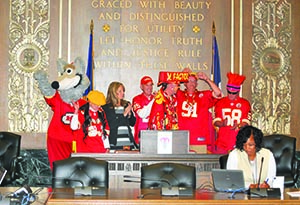 Chiefs fans at podium WEB
