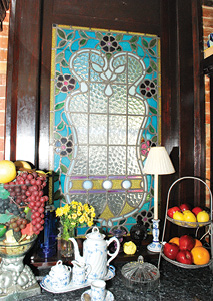 A closer look at a kitchen display in the Eastlake Victorian.
