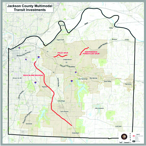 The red lines indicate the transit corridors Jackson County officials agreed upon in the Memorandum of Understanding with the Union Pacific Railroad.