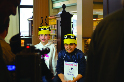 Sophia Hoffman, left, and Kush Sharma, right, during an interview with