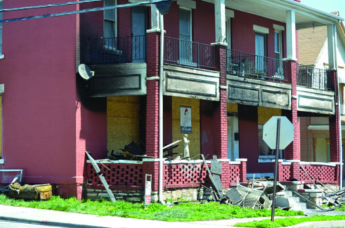 The aftermath of an early morning fire near the intersection of Park Avenue and Minnie Street.