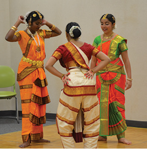 Dance. Students of Anjali Tata-Hudson's dance studio warm-up before demostrating to the crowd several traditional Indian dances. Joe Jarosz