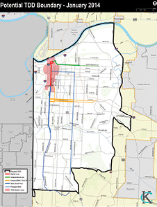 Lines. An outline of the proposed boundaries for Phase II of the Transportation Development District. Submitted Photo