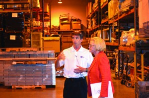 Sen. Claire McCaskill with Brian Laures of Western Forms Inc., touring the company grounds.