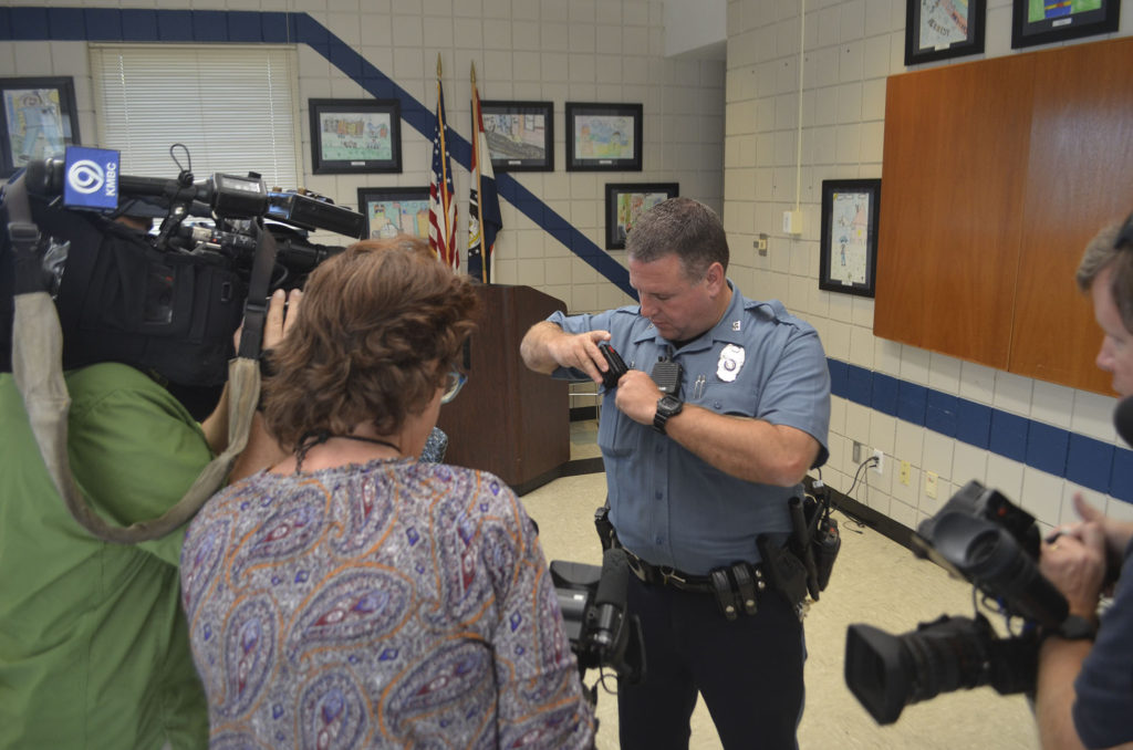 KCPD Central Patrol police officer Kevin Zoellner conducts a body camera demo on Monday, September 26.