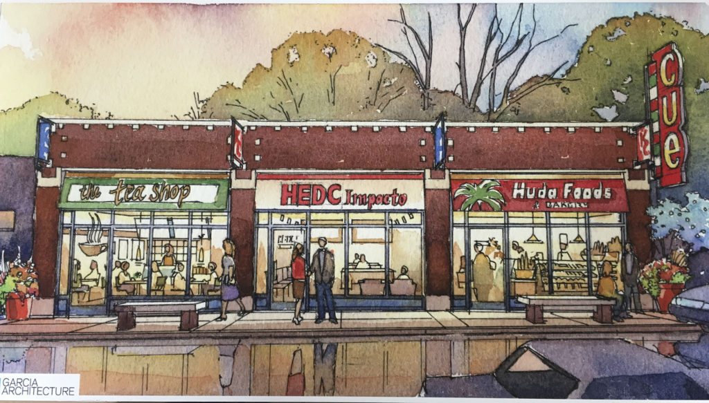 An HEDC rendering of planned facade improvements along Independence Avenue.