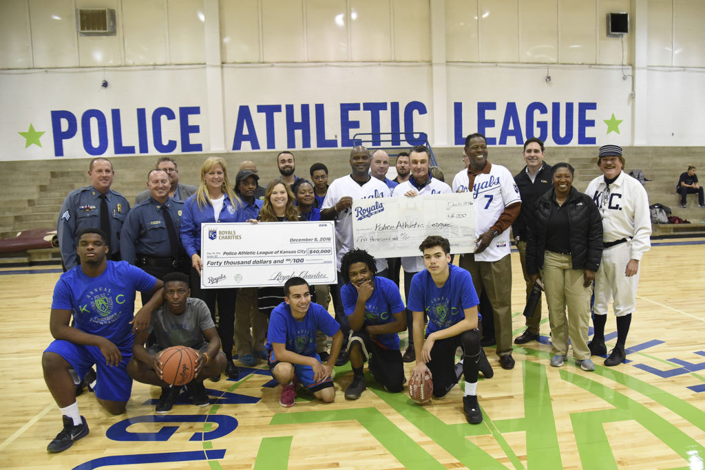 Police Athletic League Police Athletic League of Kansas City located at 1801 White Ave., Kansas City, Mo. 64126. Royals Charities will present a check for $40,000 to renovate locker rooms. The Royals Alumni Foundation will also donate $5,000 to renovate a laundry room. Alumni planning to attend will include Jim Eisenreich, John Mayberry.