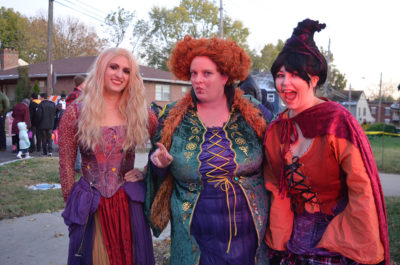 Three witches enjoy the Scare-It Halloween event on Oct. 31, 2019.